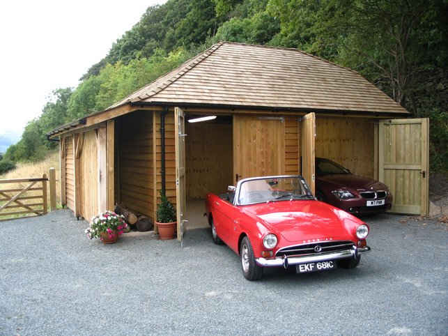 Classy garage with classic car