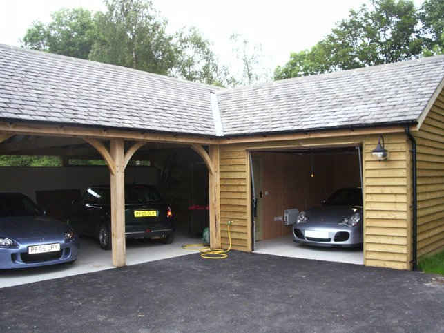 Solid wood car garage