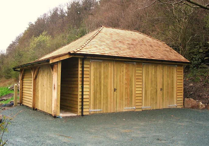 Garage with logs store attached