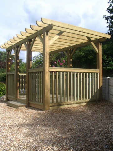 Pergola with steps and hand rails