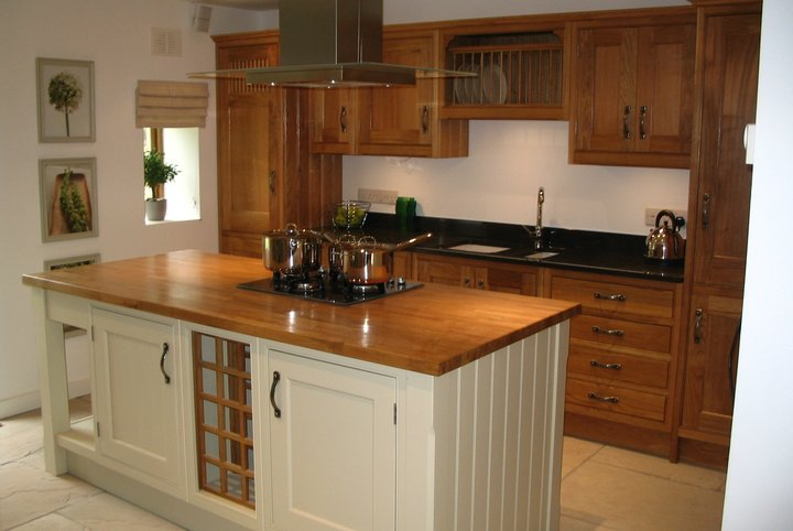 Solid oak stylish kitchen island